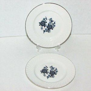 2 WEDGWOOD ROYAL BLUE BREAD PLATES Silver Rim